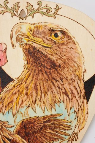 Guitar God Freebird wall art, custom made with pyrography and watercolors paint