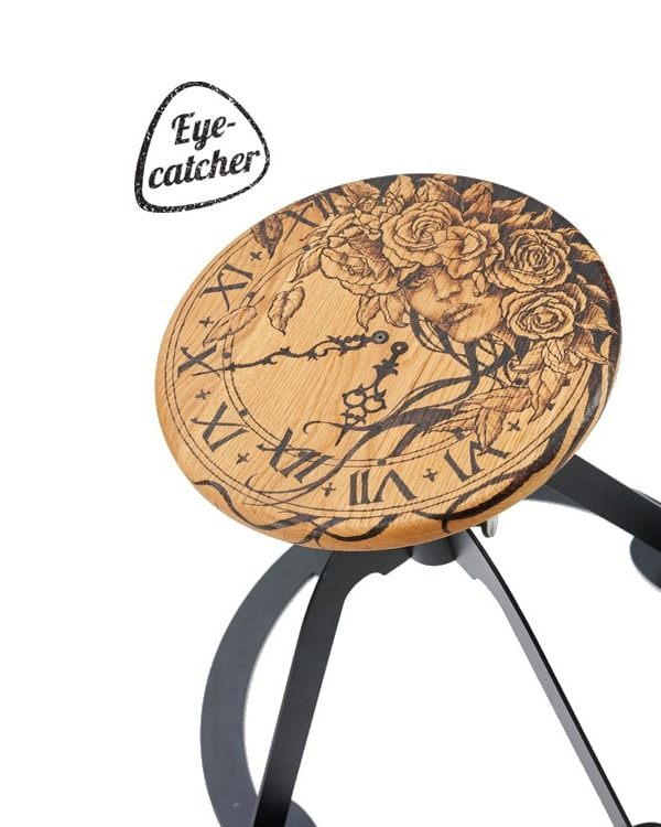 Spinner steel frame faux leather swivel guitar seat with custom made pyrography seat Muse